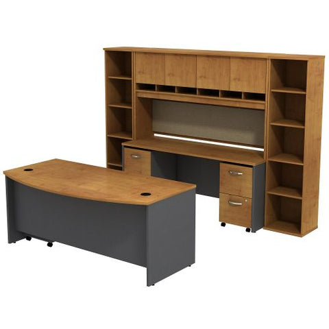 Bush Business Furniture Series C Bow Front Desk with Credenza, Hutch and (2) Bookcases in Natural Cherry/Graphite Gray (SRC0010NCSU) ; Image 1