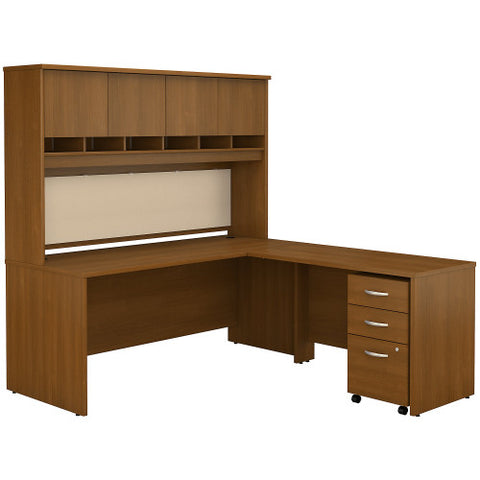 Bush Series C 72W x 30D L-Desk with Hutch and 3Dwr Mobile Ped, Warm Oak SRC0018WOSU ; UPC: 042976523022 ; Image 1