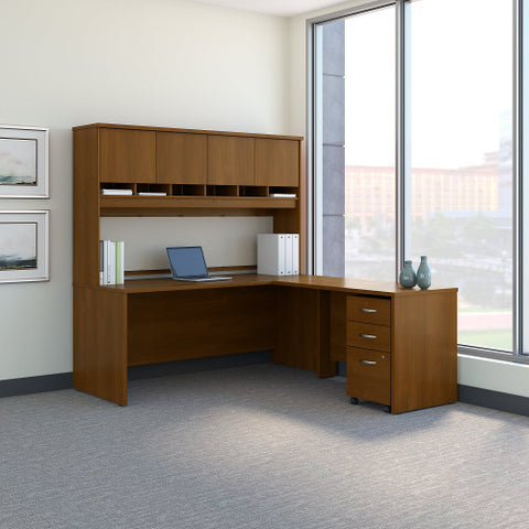 Bush Series C 72W x 30D L-Desk with Hutch and 3Dwr Mobile Ped, Warm Oak SRC0018WOSU ; UPC: 042976523022 ; Image 2
