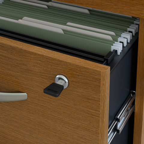 Bush Series C 72W x 30D L-Desk with Hutch and 3Dwr Mobile Ped, Warm Oak SRC0018WOSU ; UPC: 042976523022 ; Image 4
