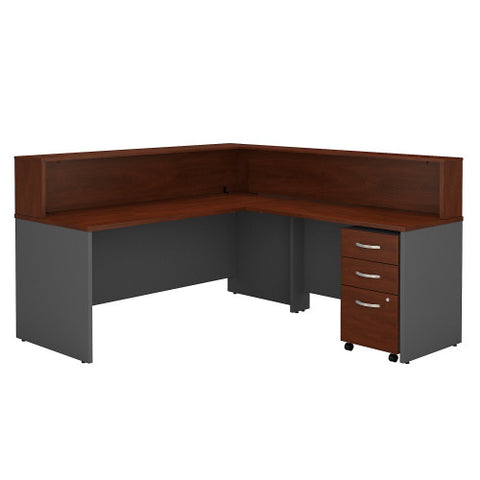 Bush Series C Reception L Desk with 3 Drawer Mobile Pedestal, Hansen Cherry SRC003HCSU ; UPC: 042976514655 ; Image 1