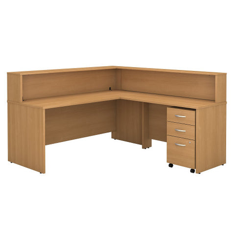 Bush Series C Reception L Desk with 3 Drawer Mobile Pedestal, Light Oak SRC003LOSU ; UPC: 042976533786 ; Image 1