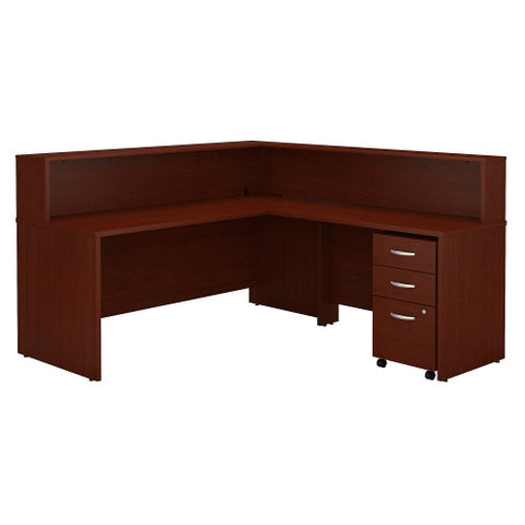 Bush Series C Reception L Desk with 3 Drawer Mobile Pedestal, Mahogany SRC003MASU ; UPC: 042976533595 ; Image 1