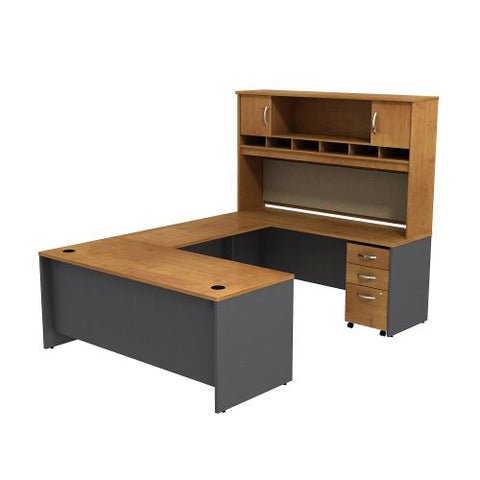 Bush Business Furniture Series C U Shaped Desk with Hutch and 3 Drawer Mobile Pedestal in Natural Cherry/Graphite Gray (SRC004NCSU) ; Image 1