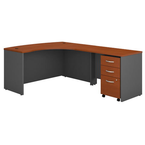 Bush Series C 60W x 43D RH L-Desk with 3Dwr Mobile Pedestal, Auburn Maple SRC007AURSU ; UPC: 042976523596 ; Image 1