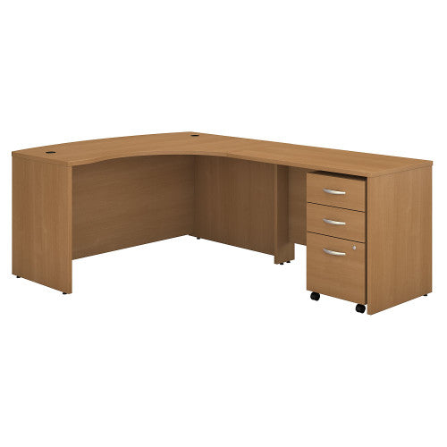Bush Series C 60W x 43D RH L-Desk with 3Dwr Mobile Pedestal, Light Oak SRC007LORSU ; UPC: 042976523626 ; Image 1