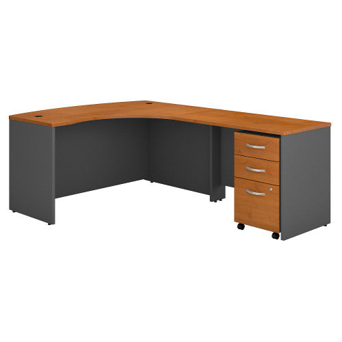 Bush Series C 60W x 43D RH L-Desk with 3Dwr Mobile Pedestal, Natural Cherry SRC007NCRSU ; UPC: 042976523688 ; Image 1