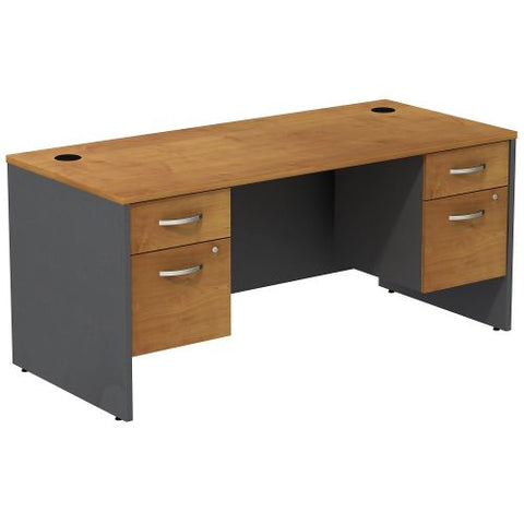 Bush Business Furniture Series C Desk with (2) 3/4 Pedestals in Natural Cherry/Graphite Gray (SRC008NCSU) ; Image 1