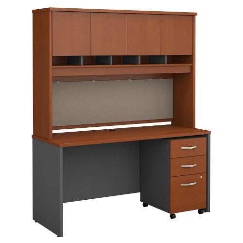 Bush Series C 60W x 24D Credenza Shell Desk with Hutch & Mobile Ped, Auburn Maple SRC014AUSU ; UPC: 042976523862 ; Image 1