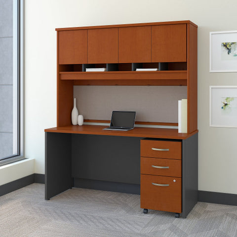 Bush Series C 60W x 24D Credenza Shell Desk with Hutch & Mobile Ped, Auburn Maple SRC014AUSU ; UPC: 042976523862 ; Image 2