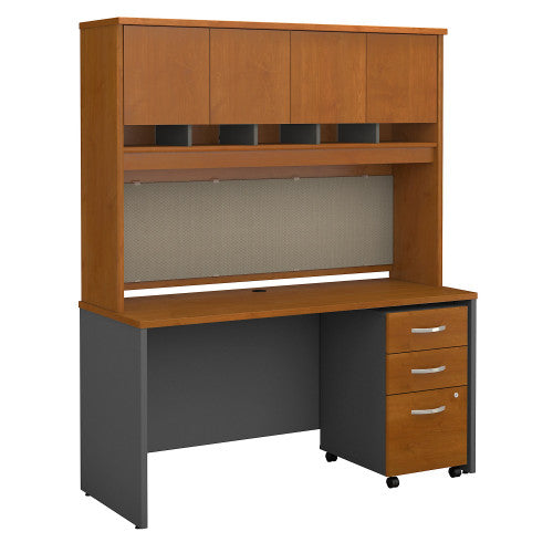 Bush Series C 60W x 24D Credenza Shell Desk with Hutch & Mobile Ped, Natural Cherry SRC014NCSU ; UPC: 042976523916 ; Image 1