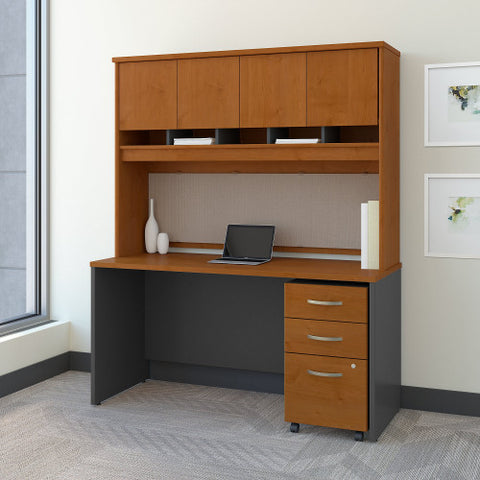 Bush Series C 60W x 24D Credenza Shell Desk with Hutch & Mobile Ped, Natural Cherry SRC014NCSU ; UPC: 042976523916 ; Image 2