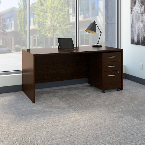 Bush Series C 66W x 30D Shell Desk with 3Dwr Mobile Pedestal, Mocha Cherry SRC015MRSU ; UPC: 042976984120 ; Image 2