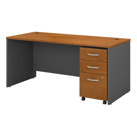 Bush Series C 66W x 30D Shell Desk with 3Dwr Mobile Pedestal, Natural Cherry SRC015NCSU ; UPC: 042976984175 ; Image 1