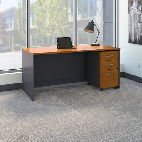 Bush Series C 66W x 30D Shell Desk with 3Dwr Mobile Pedestal, Natural Cherry SRC015NCSU ; UPC: 042976984175 ; Image 2