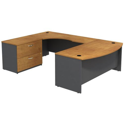 Bush Business Furniture Series C Bow Front Left Handed U Shaped Desk with 2 Drawer Lateral File Cabinet in Natural Cherry/Graphite Gray (SRC019NCLSU) ; Image 1