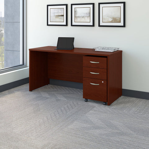 Bush Series C 60W x 24D Credenza Shell Desk with Mobile Pedestal, Mahogany SRC025MASU ; UPC: 042976520656 ; Image 2