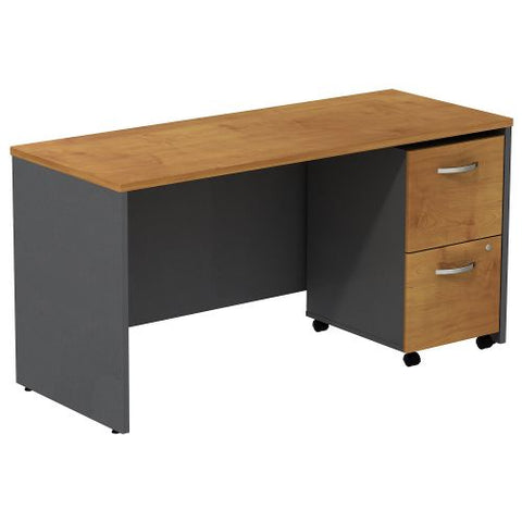 Bush Business Furniture Series C Desk Credenza with 2 Drawer Mobile Pedestal in Natural Cherry/Graphite Gray (SRC029NCSU) ; Image 1