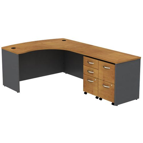 Bush Business Furniture Series C Bow Front Right Handed L Shaped Desk with 2 Mobile Pedestals in Natural Cherry/Graphite Gray (SRC034NCRSU) ; Image 1