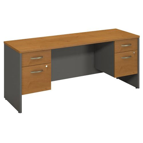 Bush Business Furniture Series C 72W x 24D Desk Credenza with 2 Pedestals in Natural Cherry/Graphite Gray (SRC065NCSU) ; Image 1