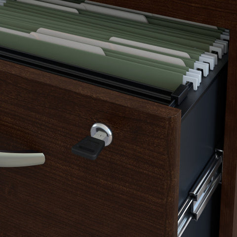 Bush Series C 72W x 30D Desk Shell with 3/4 Pedestal, Mocha Cherry SRC069MRSU ; UPC: 042976038885 ; Image 4