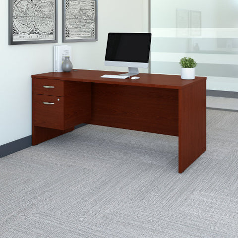 Bush Series C 66W x 30D Desk Shell with 3/4 Pedestal, Mahogany SRC071MASU ; UPC: 042976039158 ; Image 2