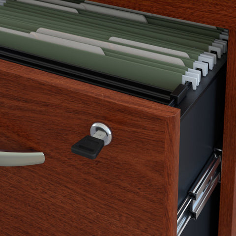 Bush Series C 66W x 30D Desk Shell with 3/4 Pedestal, Mahogany SRC071MASU ; UPC: 042976039158 ; Image 4