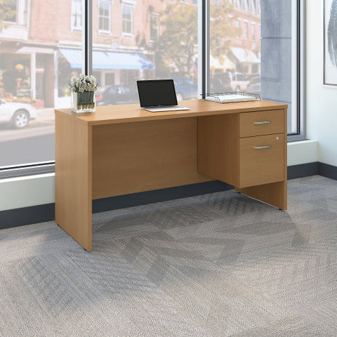 Bush Series C 60W x 24D Credenza Desk Shell with 3/4 Pedestal, Light Oak SRC072LOSU ; UPC: 042976039288 ; Image 2