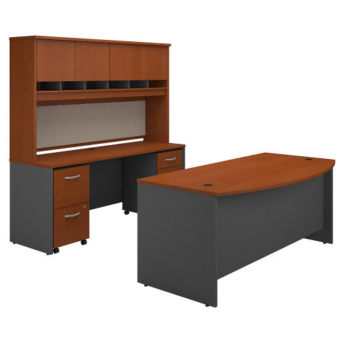 Bush Series C 72W Bow Front Desk with Credenza, Hutch and Storage, Auburn Maple SRC082AUSU ; UPC: 042976051419 ; Image 1