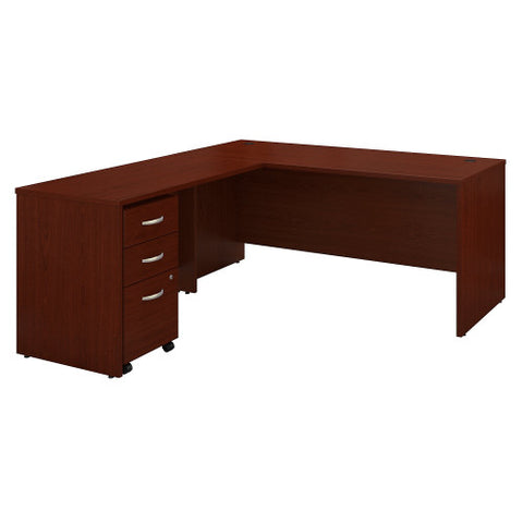 Bush Series C 66W Desk with 48W Return and 3 Drawer Mobile Pedestal, Mahogany SRC083MASU ; UPC: 042976051617 ; Image 1