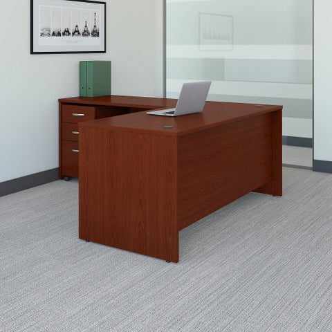 Bush Series C 66W Desk with 48W Return and 3 Drawer Mobile Pedestal, Mahogany SRC083MASU ; UPC: 042976051617 ; Image 2