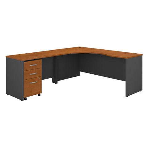Bush Series C 72W Left Hand Corner Desk, 48W Return Mobile Ped, Natural Cherry SRC086NCSU ; UPC: 042976052096 ; Image 1