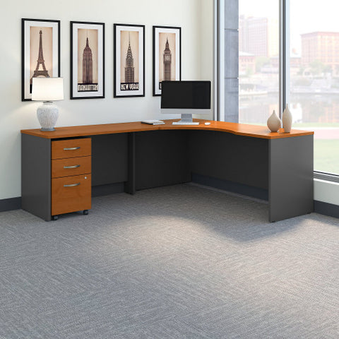 Bush Series C 72W Left Hand Corner Desk, 48W Return Mobile Ped, Natural Cherry SRC086NCSU ; UPC: 042976052096 ; Image 2