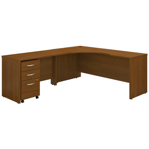 Bush Series C 72W Left Hand Corner Desk, 48W Return Mobile Ped, Warm Oak SRC086WOSU ; UPC: 042976052119 ; Image 1