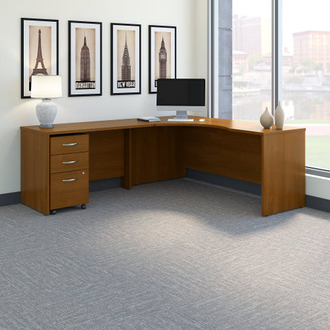 Bush Series C 72W Left Hand Corner Desk, 48W Return Mobile Ped, Warm Oak SRC086WOSU ; UPC: 042976052119 ; Image 2