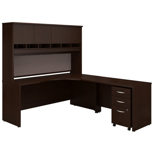 Bush Series C 72W Right H& Corner Desk with 48W Return & Storage, Mocha Cherry SRC087MRSU ; UPC: 042976052218 ; Image 1