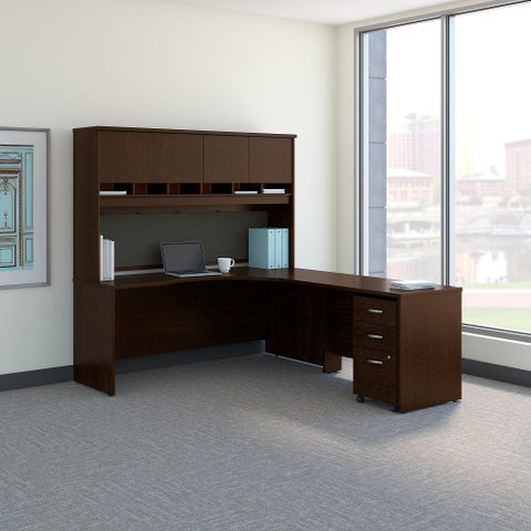 Bush Series C 72W Right H& Corner Desk with 48W Return & Storage, Mocha Cherry SRC087MRSU ; UPC: 042976052218 ; Image 2