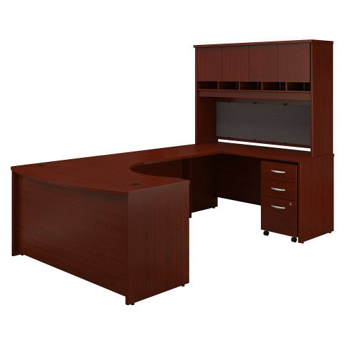 Bush Series C 60W Right Hand Bow Front U Station with Storage, Mahogany SRC092MASU ; UPC: 042976052942 ; Image 1