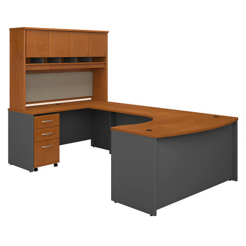 Bush Series C 60W Left Hand Bow Front U Station with Storage, Natural Cherry SRC093NCSU ; UPC: 042976053123 ; Image 1