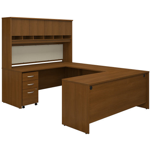 Bush Series C 72W U Station Desk with Storage, Warm Oak SRC094WOSU ; UPC: 042976053284 ; Image 1