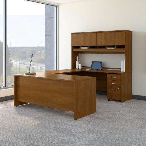 Bush Series C 72W U Station Desk with Storage, Warm Oak SRC094WOSU ; UPC: 042976053284 ; Image 2