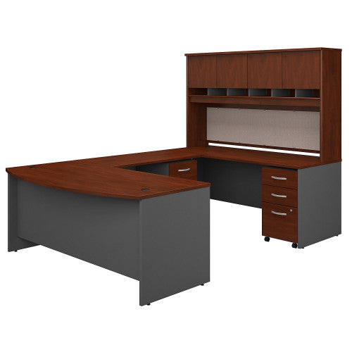Bush Series C 72W Bow Front U Station Desk with Storage, Hansen Cherry SRC095HCSU ; UPC: 042976053321 ; Image 1