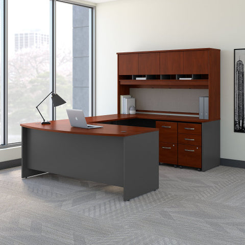 Bush Series C 72W Bow Front U Station Desk with Storage, Hansen Cherry SRC095HCSU ; UPC: 042976053321 ; Image 2