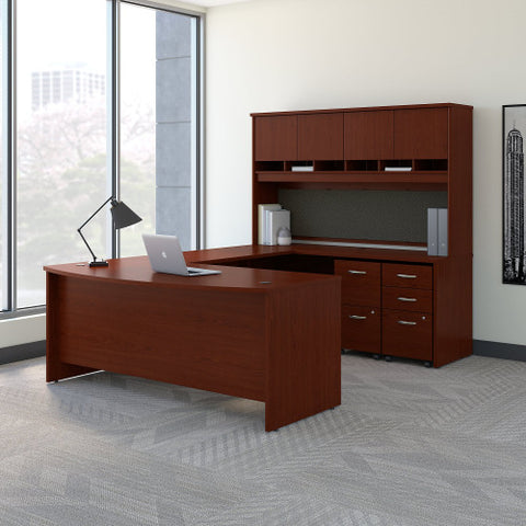 Bush Series C 72W Bow Front U Station Desk with Storage, Mahogany SRC095MASU ; UPC: 042976053369 ; Image 2