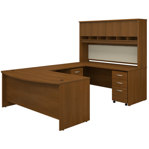 Bush Series C 72W Bow Front U Station Desk with Storage, Warm Oak SRC095WOSU ; UPC: 042976053420 ; Image 1