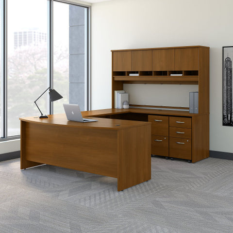 Bush Series C 72W Bow Front U Station Desk with Storage, Warm Oak SRC095WOSU ; UPC: 042976053420 ; Image 2
