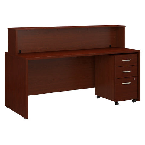 Bush Series C 72W x 30D Reception Desk with Mobile Pedestal, Mahogany SRC096MASU ; UPC: 042976053505 ; Image 1