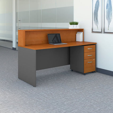 Bush Series C 72W x 30D Reception Desk with Mobile Pedestal, Natural Cherry SRC096NCSU ; UPC: 042976053543 ; Image 2