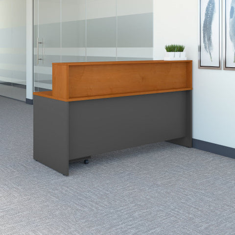 Bush Series C 72W x 30D Reception Desk with Mobile Pedestal, Natural Cherry SRC096NCSU ; UPC: 042976053543 ; Image 3