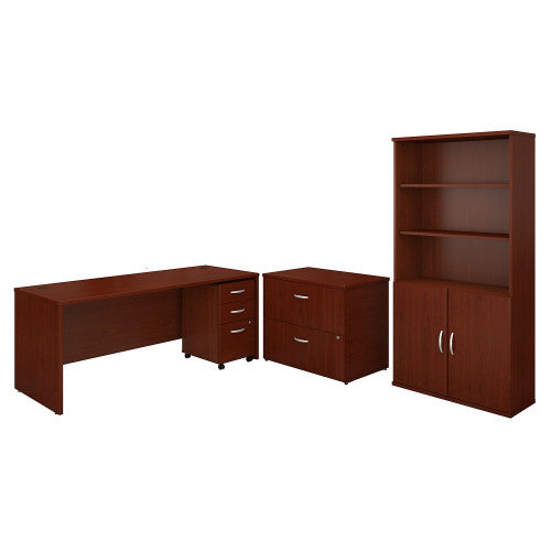 Bush Series C 72W Desk with File Storage and Bookcase, Mahogany SRC097MASU ; UPC: 042976053628 ; Image 1